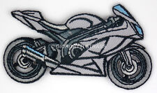 Toppe Ricamate termoadesive Moto grigia toppa adesive Grigia 8cm x 4,5cm patch