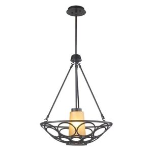 World Imports 1-Light Oil-Rubbed Bronze Pendant with Frosted Amber Glass Shade