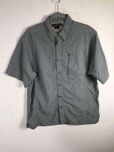 Exofficio mens grey Fishing Hiking Adventure button up shirt size L short sleeve