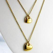 Collier Edelstahl Doppelkette Herz Anhänger Gold vg. Liebe Kette Halskette Damen