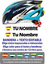 (pc1) 2 x BANDERA ESPAÑA NOMBRE EDITABLE PEGATINA VINILO CASCO BTT BICI