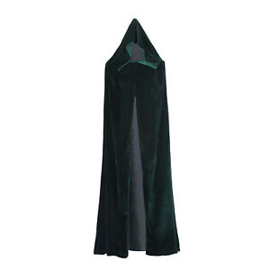 Clearance Velvet Hooded Cloak Witch Robe Medieval Witchcraft Cape Halloween