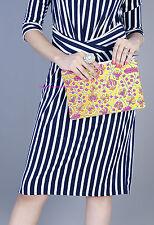 Floral Print Clutch Wristlet Bag Ethnic Indian Women Orange Handbags Wallet Bag