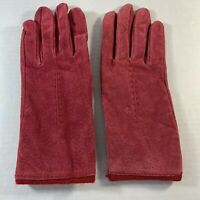 Women's Fownes Leather Driving Gloves Pinkish Red Lined in Soft Red Size Large
