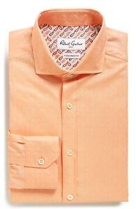 NWT Robert Graham CINTO Cotton Shirt Orange Size 15