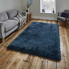 Think Rugs Montana Hand Tufted Heavy Weight Shaggy Pile Rug Steel Blue 80x150cm (3x5')