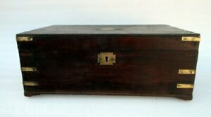 Antique Old Wooden Carved Brass Work Multi Compartment Merchant Box Money Box