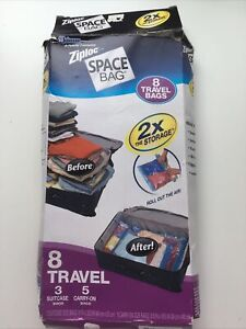 Ziploc Brand Space Bags 7 Travel Bags = 3 Suitcase and 4 Carry-On Bags - Clear