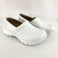 Nurse Mates Womens Clogs Leather Pillowtop Comfort Shoes Slip On White 7W Wide