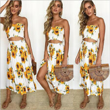 Women 2 Piece Bandeau Crop Top Bodycon Skirt Co Ord Set Party Holiday Mini Dress #6 V Neck White Dress 6