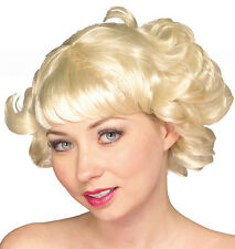 Womens Blonde Flip Wig Short Flapper Hair Curls Curly Grease Rocker 20s Adult
