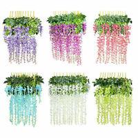 12 Packs Artificial Fake Wisteria Vine Ratta Hanging Garland Silk Flowers Decor