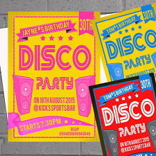 Personalised Disco Adults Kids Birthday Party Invites x 12 Retro Speakers H1271