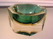 Vtg Murano Mandruzzato Sommerso Faceted Aqua/Green Yellow Glass Ashtray Bowl 60s