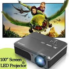 4200lm LCD Home Theater Projector Movie HDMI+100'' Inch 16:9 HD Portable Screen