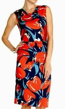 PHASE EIGHT CORA RED WHITE BLUE TULIP RUCHED PENCIL BODYCON DRESS 10 (8)
