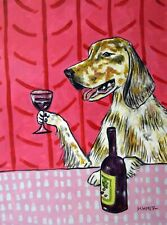 English Setter wine dog 13x19 art Print dog animals impressionism