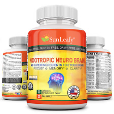 Nootropic Brain Supplement DMAE Bitartrate, Glutamine, Glutamic Acid, Green Tea