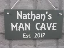 MAN CAVE Sign Personalised Wooden Dad Plaque Gift with Name & Year