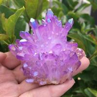Natural Aura Angel Crystal Cluster Purple Titanium Quartz Healing Home Decor US