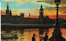 Postcard  London Sunset on the river Thames posted  Hinde