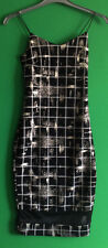 NEW LOOK~CAMEO ROSE~BLACK/WHITE/SILVER STRAPPY KNEE LENGTH BODYCON DRESS~SIZE 10