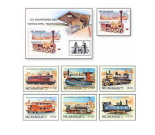 NIC85012 Old railways  block and 7 stamps