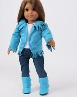 """Doll Clothes 18"""" Western Teal Suede Pants Outfit 4 Piece Fits American Girl Doll"""