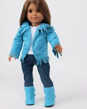 "Doll Clothes AG 18"" Western Teal Suede Outfit 4 Piece Made To Fit American Girl"
