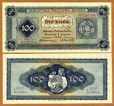 Croatia, 100 Kuna, 1943, P-11, WWII, Scarce in UNC