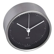 Modern Ship Clock Clausen Brushed Stainless Steel Face Black 100mm