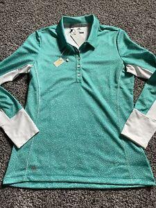 Adidas Golf Polo Women's Aqua/White Long Sleeve with Climacool Activewear Sz M