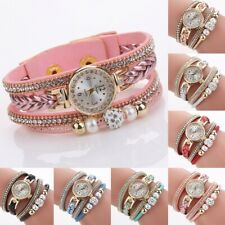 Women's Fashion Pearl Braided Alloy Quartz Wrist Watch Bracelet Bangle Lady Gift