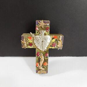 Mexican Folk Art Tin Milagros Cross Sacred Heart Milagro Wood Ornament