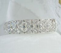 QVC Sterling Silver 925 Simulated Diamond Vintage Style Filigree Wide Bracelet