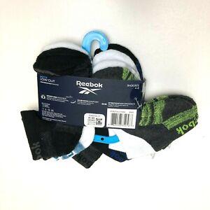 New Reebok Boys Socks Youth Black White 6 Pairs Low Cut shoe size 4-8 cushion V5