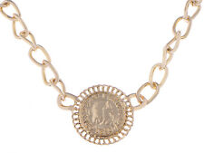 Chunky Profile Dollar Coin Bling Chain Link Urban Fashion Statement Necklace