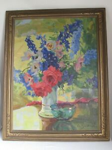 """Antique Oil Painting of Anna Gasteiger's """"Anemons and Larkspur""""  c.1930's"""