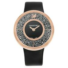 NEW WOMENS SWAROVSKI (5045371) BLACK LEATHER CRYSTALLINE ROSE GOLD WATCH