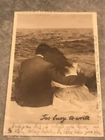 rppc Postcard Lovers Embracing And Staring At The Ocean On Beach