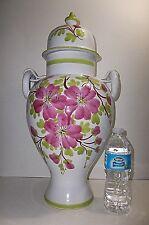 "Vintage Italian Faience Majolica Pottery URN VASE 20.25"" Jar CHERRY BLOSSOMS"