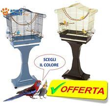 Imac SOFIA Gabbia  BLU / ORO + Basamento con ruote per uccelli cm 63x33x61xH133