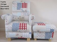 Fryetts Vintage Patchwork Blue Fabric Adult Chair & Footstool Nursery Armchair