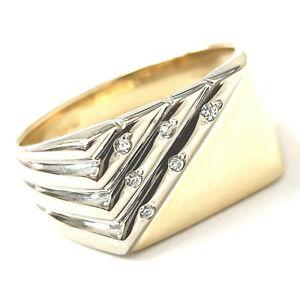 18ct Gold Diamond Ring Signet Style Men's Yellow White Gold 7.1g Size S 0.12ct