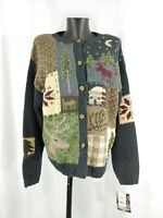 MWT Woolrich Women's Holiday Christmas Cardigan Sweater Button Embroidered SZ L