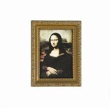Vintage Miniature Golden Framed Wall Picture of Mona Lisa for Dollhouse 1/12
