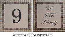 PROMOZIONE! Numero civico+via incisi su piastrella di ceramica e mosaico 20x20cm