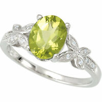 14k White Gold Genuine Oval Peridot and Diamond Butterfly Design Ring