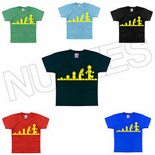 Evolution Of Lego Man Building Blocks Funny Geek Kids T-Shirt 1-2 to 14-15 Years
