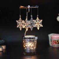 Tea Light Holder Rotary Spinning Candlestick Candle Carousel Metal Home Decor